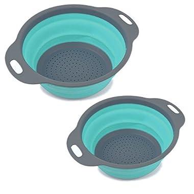 2 Pack Kitchen Food-Grade Silicone kitchen Strainer Space-Saver Folding Strainer Colander-Blue