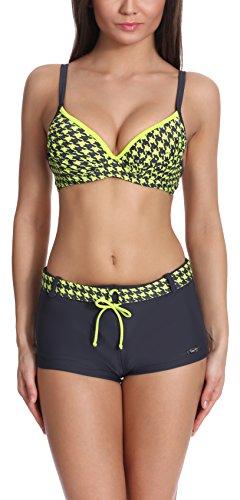 Verano Damen Bikini Set Push Up 72N3T1 (Graphit/Zitrone, 44)