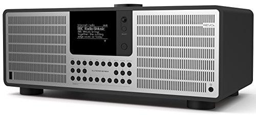 Revo SuperSystem Internet-/DAB+ Radio (Stereo Sound, Internet/DAB+/DAB/UKW,Spotify,WLAN,LAN,Aux In,Line-Out,Kopfhörer Ausgang,inkl. Netzteil) mattschwarz-silber