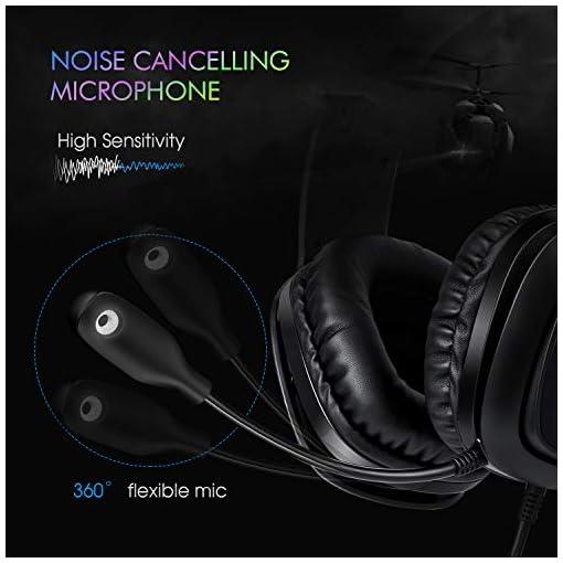 REDSTORM Auriculares Gaming PS3, Cascos Gaming con Micrófono Volteable, 7.1 Sonido Virtual Surround, RGB Luz, Peso… 3