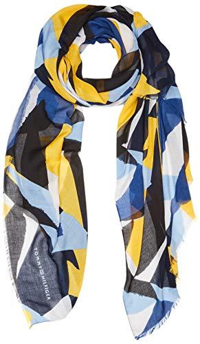 Tommy Hilfiger Printed Colorblock Scarf Sciarpa Donna, Blu (Blue Mix 901), Unica (Taglia Produttore: OS)