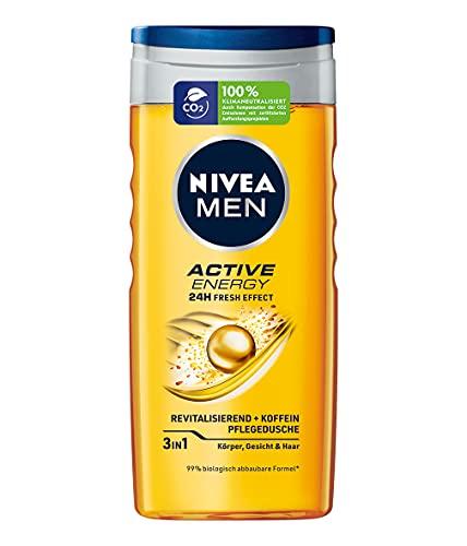 NIVEA MEN Active Energy - Gel de ducha (250 ml), refrescante gel de ducha con cafeína natural, ducha revitalizante para cuerpo, cara y cabello