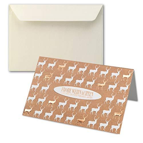 Lot de cartes de Noël DIN B6 - Double carte de Noël avec inscription en allemand « B6 » - Enveloppes incluses - Format 17,0 x 11,5 cm B6 ! 10 Sets Gold-Hirsch - Umschlag Creme