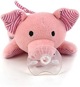 Benaturalbaby Infant Pacifier Organic Cotton Pig Pacifier Holder Adapts to Name Brand Pacifiers product image