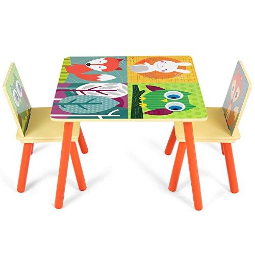 COSTWAY Juego de 1 Mesa y 2 Sillas para Niños Escritorio para Infantil Mueble para Juguete Dormitorio