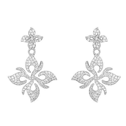 Pendientes de plata S925 con incrustaciones de plata de magnolia dardo pendientes de mujer de largo temperamento que fluye pendientes de personalidad europea y americana