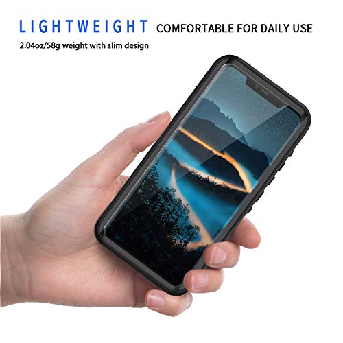 Lanhiem für Huawei Mate 20 Pro Hülle, IP68 Zertifiziert Wasserdicht Handy hülle 360 Grad Schutzhülle, Stoßfest Staubdicht und Schneefest Outdoor Schutz mit Eingebautem Displayschutz - Blau - 2