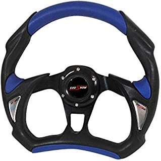 Rxmotor Universal Fit 320mm JDM Battle Racing Steering Wheel New - Acura Honda Toyota Mazda Mitsubishi etc (BLUE)