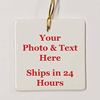 Square Personalized Ornament, Add photo text or art design and make your own Customized Porcelain Ceramic Ornament, gold string and Gift Bag Included. Custom Photo Ornament for Christmas tree
