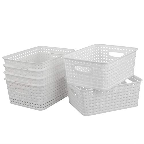 Bblie 6er Pack Weiß Kleiner Aufbewahrungskorb Aus Kunststoff HaushaltsköRbe Plastik KöRbe