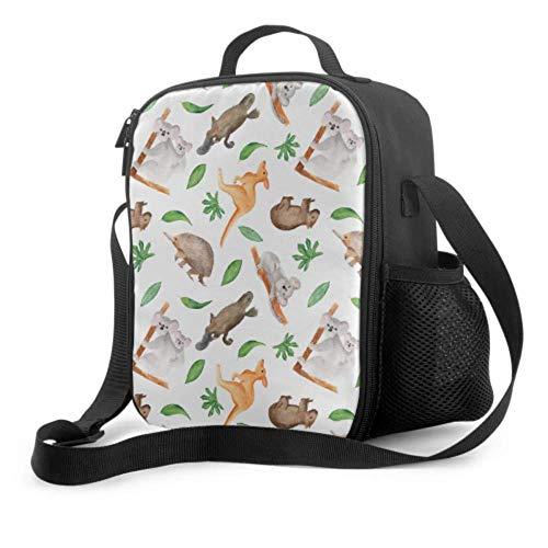 Lawenp Bolsa de almuerzo colorida Kalamazoo Kangaroo Australia Bolsa de almuerzo para mujer con asa para el hombro Bolsa refrigeradora reutilizable para hombres, mujeres, trabajo/escuela/picnic