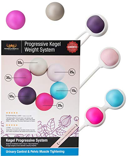 Ben Wa Progressive Kegel Weight Exercise System: 6 Weights for Woman Tightening, Beginner to Advance Strengthen Pelvic Floor Muscle Recovery Resolves Keegles Incontinence & Bladder Control