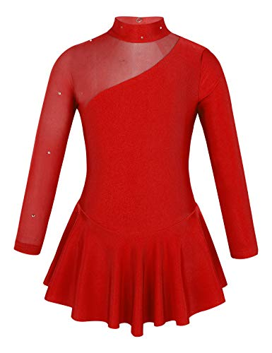 Alvivi Eiskunstlauf Kleid für Kinder Eislaufen Wettbewerb Bekleidung Mädchen Ballettkleider Ballettanzug Tanz Kleid Sport Gymnastikanzug Rot 116/6 Jahre