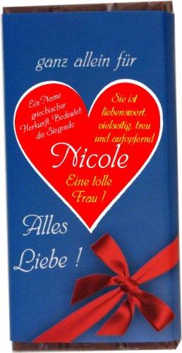 """Schokolade \""""ganz allein für Nicole\"""" 100 g"""