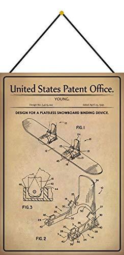 Metalen bord 20x30cm gebogen met koord Patent Ontwerp Snowboard Binding 1995 Deco Gift Shield