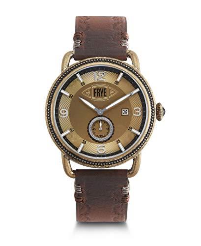 FRYE Men's Weston Stainless Steel Japanese Quartz Leather Strap, Brown, 22 Casual Watch (Model: 37FR00018-02)