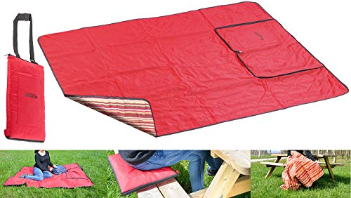 PEARL Decke: 3in1-Multi-Picknickdecke mit Sitzkissen & Zudecke, waschbar, 150x130cm (Reisedecke)