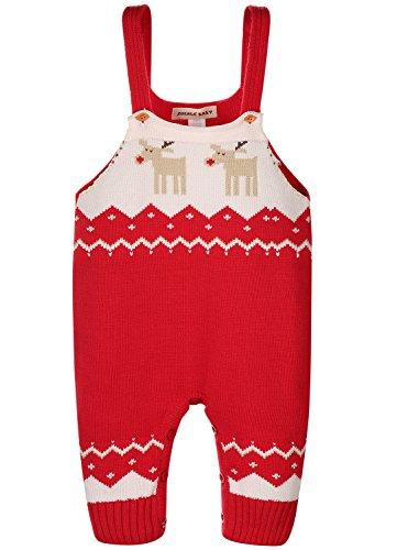 ZOEREA Unisex Baby LatzHose Romper Bib Pants Outfits Hosenträger Gestrickt Weihnachten Hirsch Schultergurt Baumwoll Sweatshirt Baby Kinder Overalls...