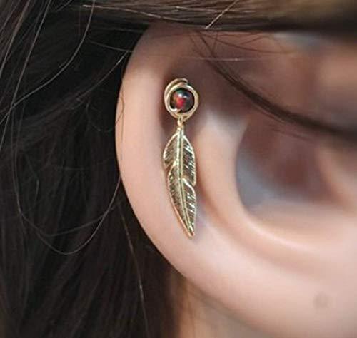 FloweRainboW Helix Ohrstecker - Feder Ohrring Tragus Opal Gold, Silber