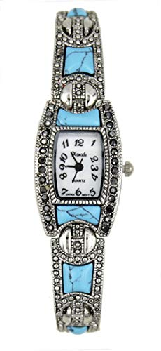 New Vintage Style Marcasite with Turquoise Stones Ladies Silver Tone Bracelet Watch