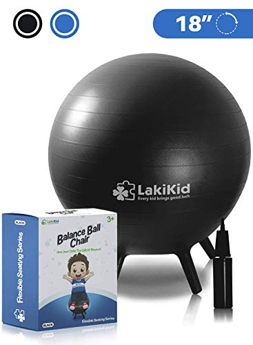 Balance Ball Chairs for Kids: LakiKid Flexible Seating Classroom Furniture- Stability Ball Chairs with Legs, Exercise Ball Chair, Yoga Ball Chair, Ideal Alternative Seating for Students (18'/45 cm)