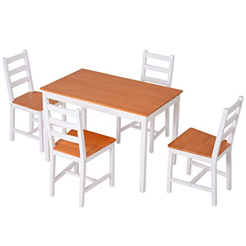HOMCOM 5 Piece Dining Room Table Set, Wooden Kitchen Table and Chairs for Dinette, Breakfast Nook, White