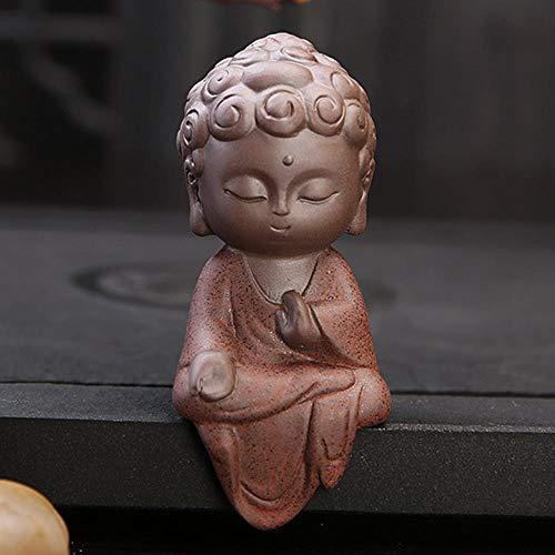 EMOHKCAB Keramische Klin Monnik Boeddhabeelden Boeddhistische sculpturen Tathagata Leuke Budha Huis Tuindecoratie Buda Tafelversieringen, 1 stuks