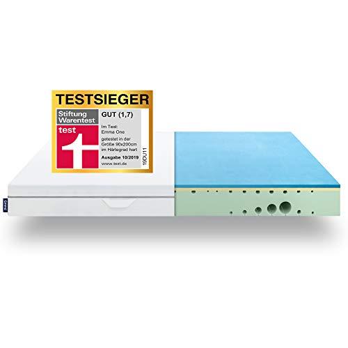 EMMA One Matratze TESTSIEGER Stiftung Warentest 10/2019 - Liegegefühl Hart - 90x200 cm - ergonomische 7 Zonen Matratze - atmungsaktiv - Öko Tex Zertifiziert - Entwickelt in Deutschland