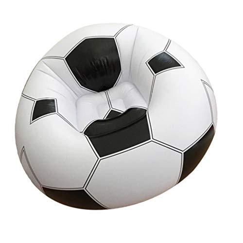 VOSAREA Fußball Sitzsack Stuhl Neuheit Aufblasbares Fußball Geformtes Sofa Perfekt zum Lesen Beim Spielen von Videospielen Oder zum Entspannen in Schwarzweiß