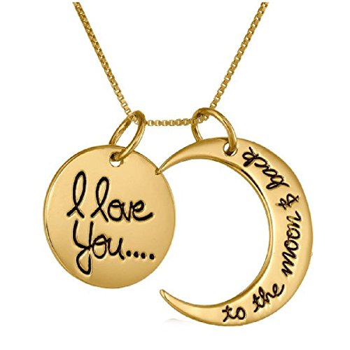 Mini Trinkets Gold/Silver I Love You to The Moon & Back Necklace Pendant Charm Gift Present (Gold - I Love You)
