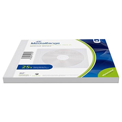 MediaRange Vliestaschen für 1 Disc, klebende Rückseite, weiß, 25er Pack