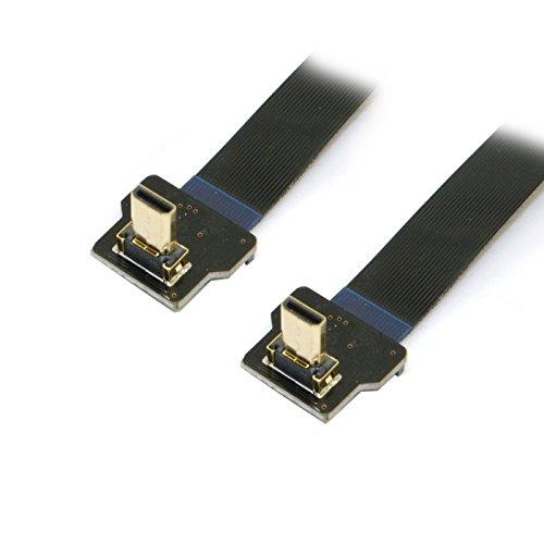 Cablecc 90 Grad nach oben abgewinkelter FPV-Micro-HDMI-Stecker auf Micro-HDMI-FPC-Flachkabel, 20 cm, für GoPro-Multicopter Luftfotografie