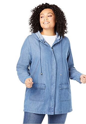 Woman Within Women's Plus Size Lightweight Hooded Jacket - 30/32, Medium Stonewash