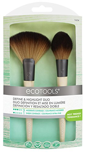 EcoTools Define & Highlight Duo, Makeup Brush Set for Powder, Bronzer, & Highlighter