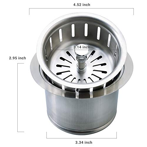 Kitchen Extended Sink Flange with Basket Strainer and Drain Stopper for Garbage Disposal Fit 3-1/2 Inch Standard Sink Drain Hole, Replacement for Deep Sink Flanges,Stainless Steel