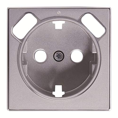 Placa de cubierta para toma de corriente Schuko, 5,4 x 1,5 x 5,4 centímetros, color plata (referencia: 8588.3 PL)