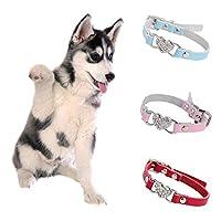SHUHAO 中大犬刻ま首輪パーソナライズネックレスバックルネックストラップのための調節可能なペット犬猫子犬ラインストーンのハート (Color : White Red, Size : XS)