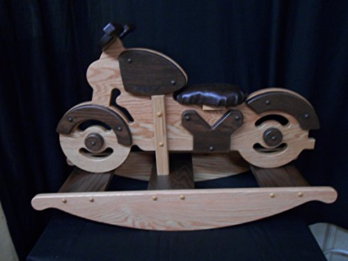 Amish Crafted Motorcycle Rocking Horse Rocker Hobby Horse Solid Oak Kids Toy Stained Wooden