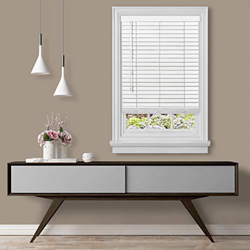 "Achim Home Furnishings, White Cordless GII Madera Falsa 2"" Faux Wood Plantation Blind 43"" x 64"""