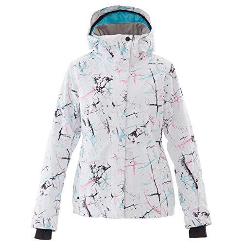 Femme Imprimé Vestes de Ski, Costume de Ski Plein air Imperméable Coupe-Vent Habit de Neige Jeu Chaude Respirante Épaississement Hivernal Manteau de Snowboard-G M