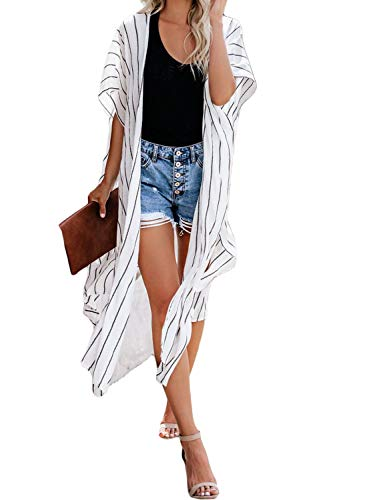 Sidefeel Women Summer Striped Kimono Cardigan Beach Outwear One Size White