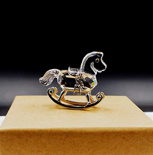 ABCBCA Metal Crystal Rocking Horse Car Fashion Ornament Car Desk Christmas Decorations Gifts For Children