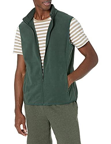 Amazon Essentials Men's Full-Zip Polar Fleece Vest, Forest Green, Large