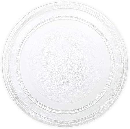 ALGOMAS® Plato Microondas Universal de vidrio 245 mm de Diámetro y antideslizante. Adaptable a LG, adaptable a Panasonic, adaptable a Galanz y a otras marcas