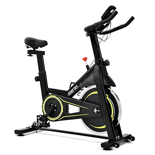 Merax Heimtrainer Fahrrad,Indoor Cycling Bike,Fitnessbike,Einstellbarer Magnetwiderstand, LCD-Monitor,Herzfrequenzsensor,150 kg Belastbar