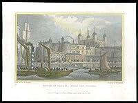 1831ロンドン - テムズ川(142)からロンドン塔のアンティークプリントビュー