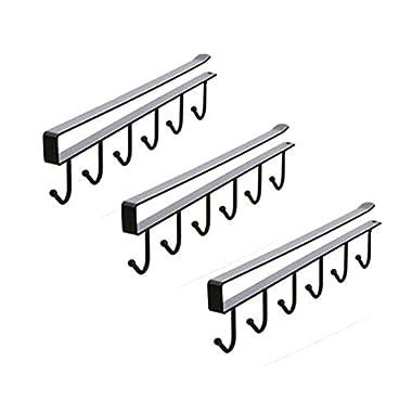 3Pcs Multifunction Nail Free 6×2 Hook Mug Holder Under Shelf Mug Hooks Rack Hanger Coffee Cup Holder,Tie Hooks,Keys hooks for Kitchen,Armoire,or Any 0.78-1inch Thickness Shelf(Black)