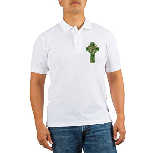 CafePress Celtic Cross Golf Shirt Golf Shirt, Pique Knit Golf Polo White