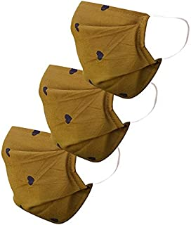 Cotton Cloth pack of 3 Face Mask Washable Reusable Face Masks Soft Earloop/Mouth Nose Cover 2 ply face masks Men Women Kids Unisex (MEHNDI HEART )