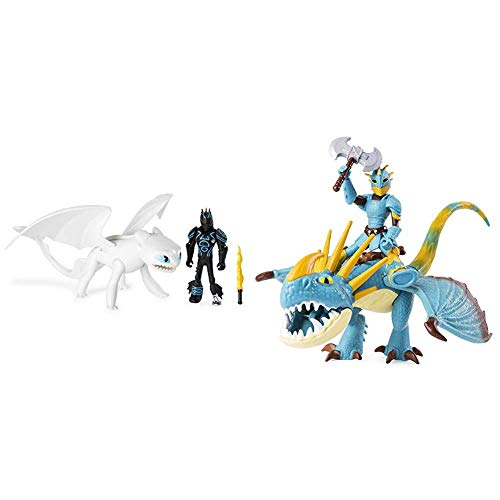 Dreamworks Dragons 6052266 Movie Line Dragon & Vikings, Tagschatten und Hicks (Solid), Actionfiguren Drache & Wikinger & 6052269 - Movie Line Dragon & Vikings - Sturmpfeil und Astrid (Solid)